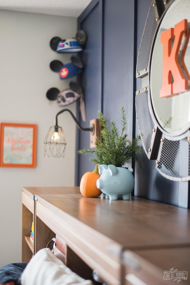 Navy and Orange Modern Nautical Boy Bedroom Makeover