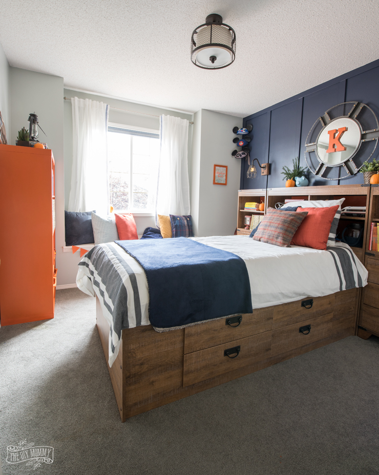 Navy and Orange Modern Nautical Boy Bedroom Makeover