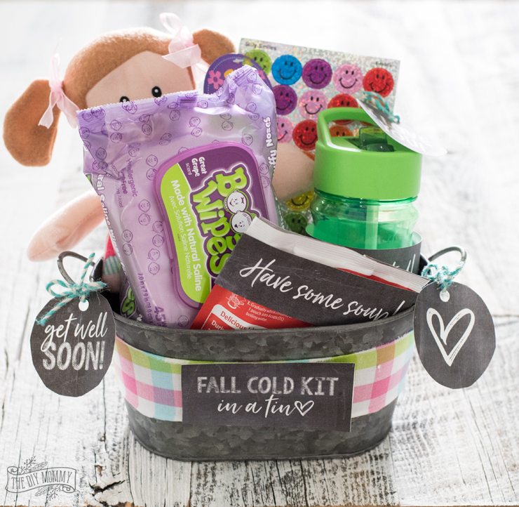 Fall Cold Kit in a Tin - free printables and gift basket idea