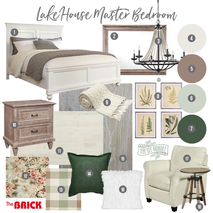 Rustic Traditional Lake House Master Bedroom Mood Board Idea