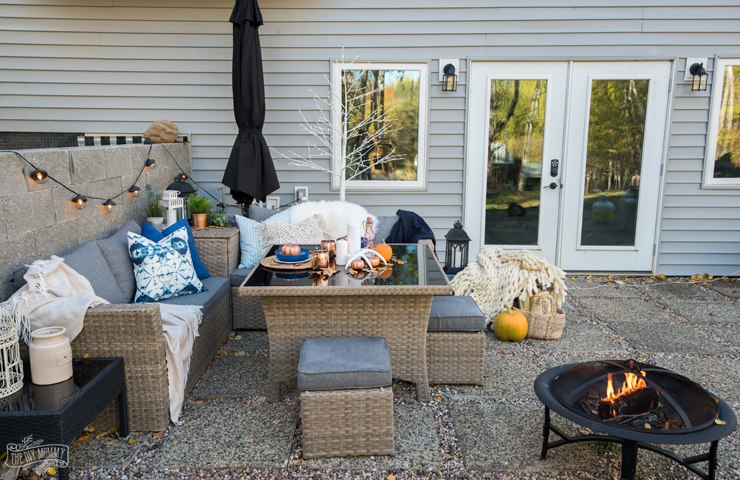 Outdoor Fall Decor Ideas in blue, orange, copper, boho, farmhouse