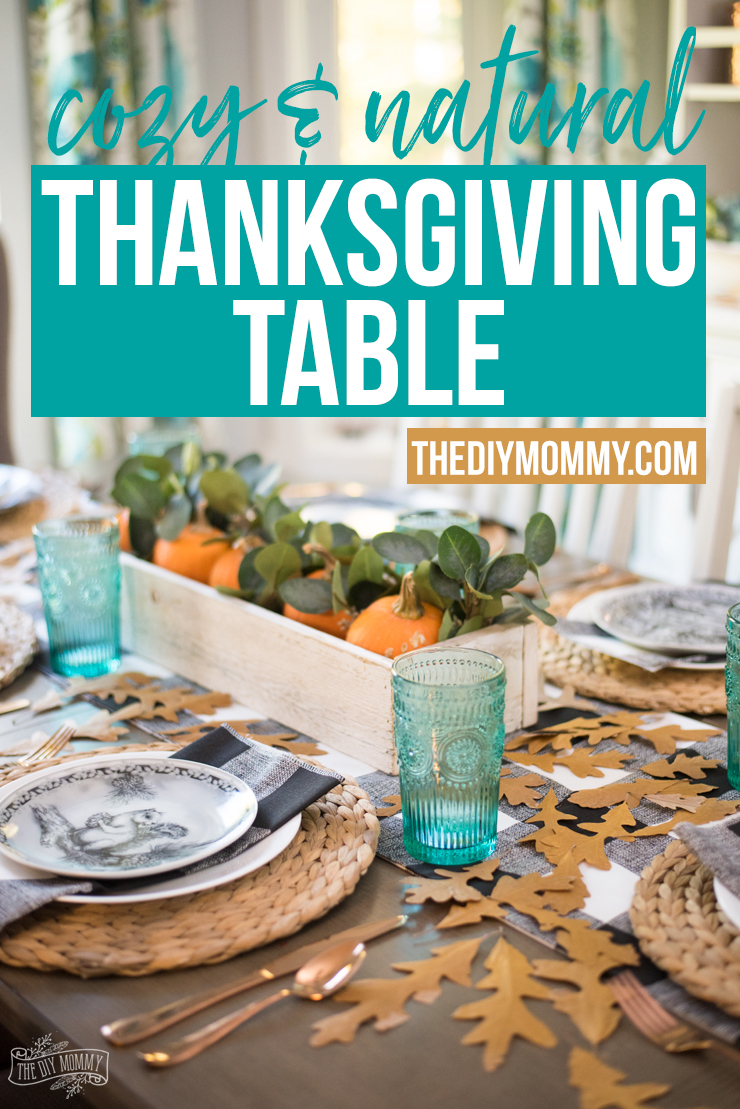 Natural & Cozy Fall Thanksgiving Table Setting Idea