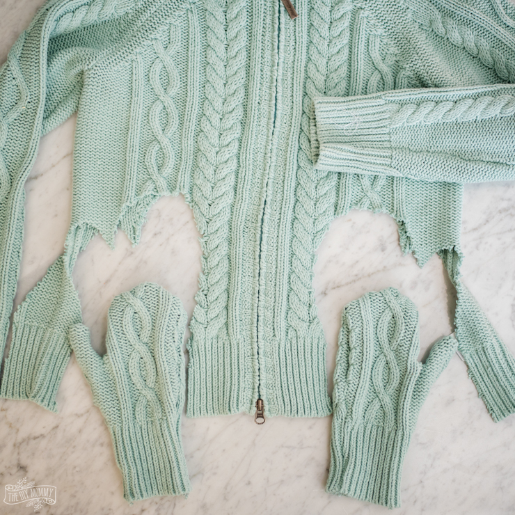 How to make DIY mittens out of thrift store sweaters