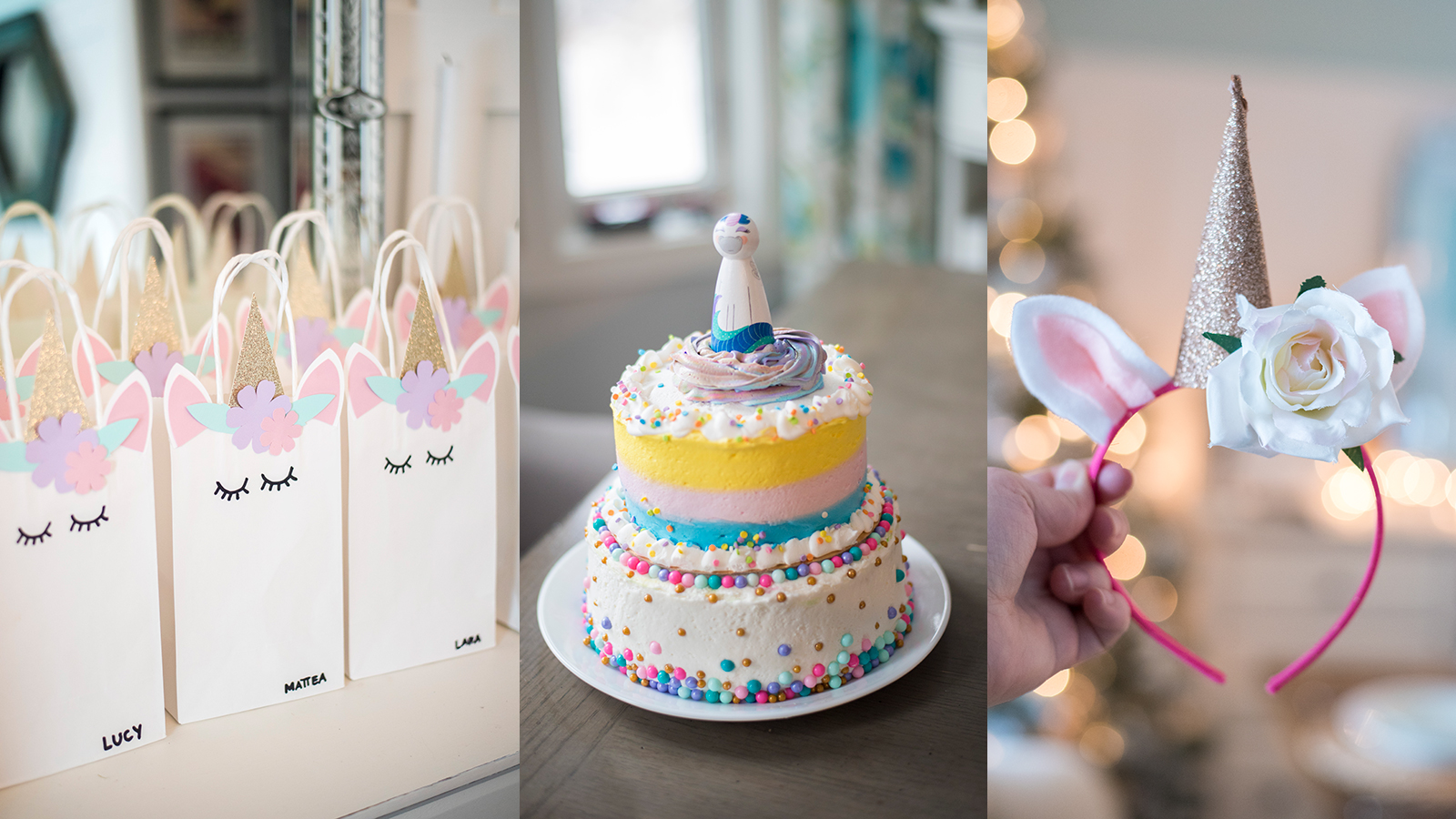 DIY Unicorn Party Ideas - unicorn treat bags, unicorn cake, unicorn headband