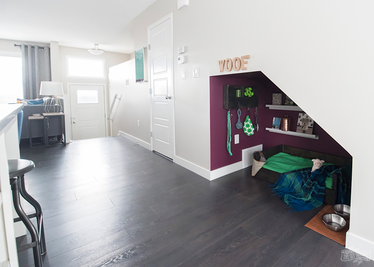 Diy Under Stairs Dog Nook With Handmade Dog Bed Amp Organizer