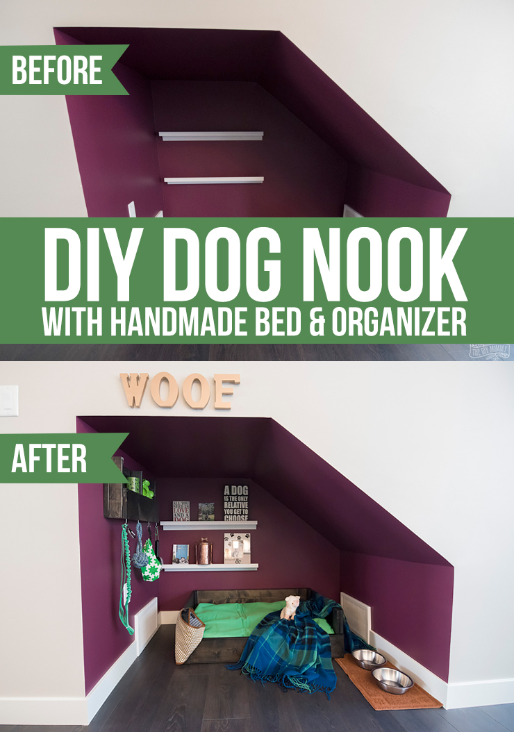 Diy Under Stairs Dog Nook With Handmade Dog Bed Organizer The Diy Mommy