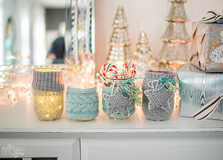 Adorable mason jar cozies and ornaments from a thrift store sweater