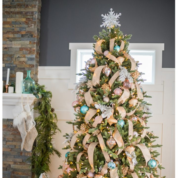 Rustic glam farmhouse Christmas tree