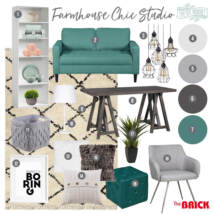 Farmhouse Chic Studio mood board with white, wood & teal