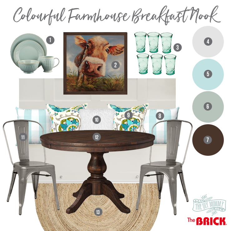 Cheerful & colourful Farmhouse breakfast nook makeover
