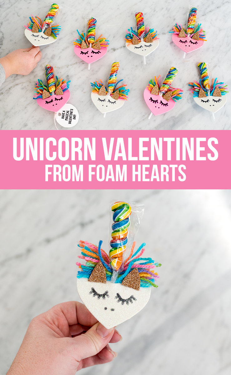 DIY Unicorn Valentines from Foam Hearts