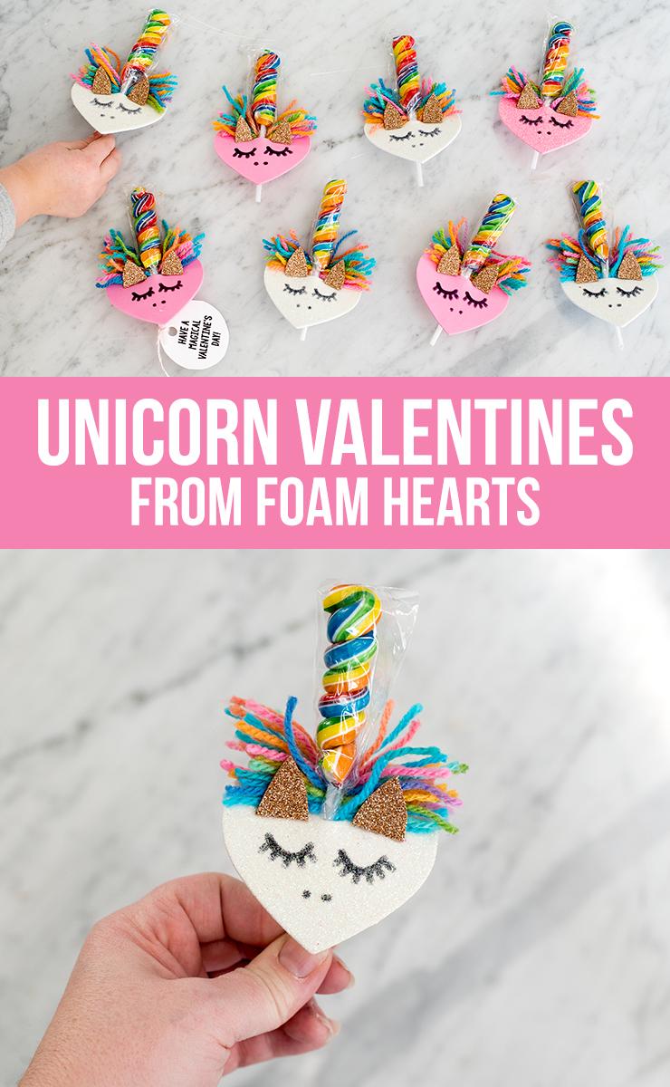 DIY Unicorn Valentines from Foam Hearts