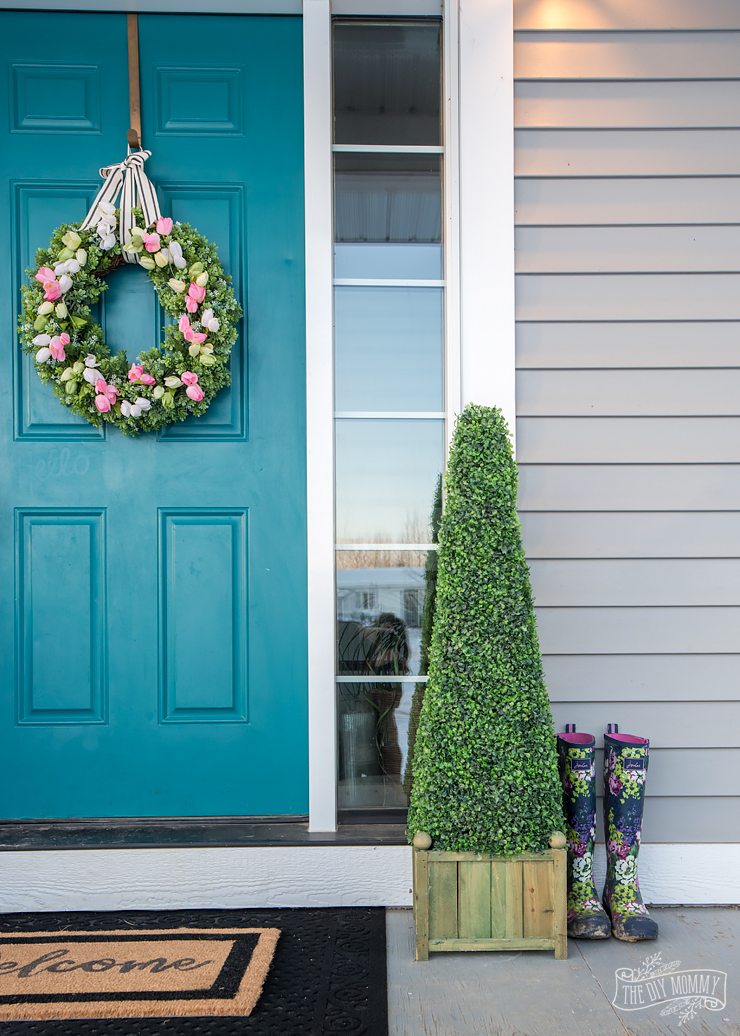 Teal, grey and pink DIY Spring front door decor