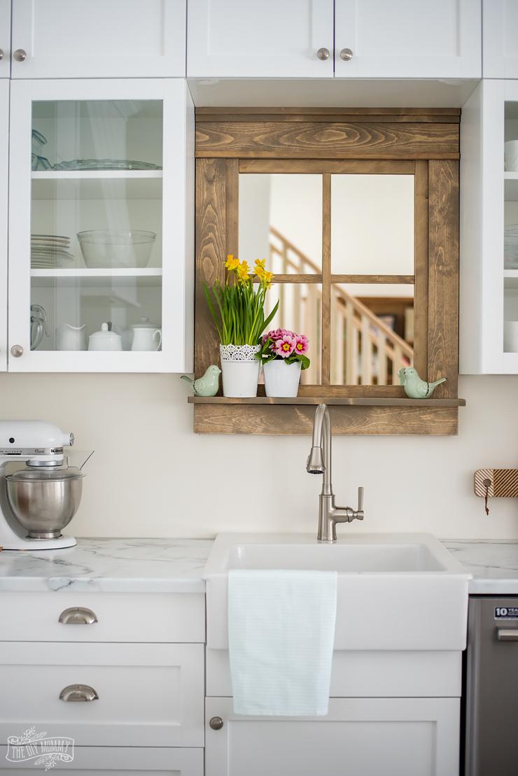 Budget Friendly White and Mint Lake House Kitchen Design