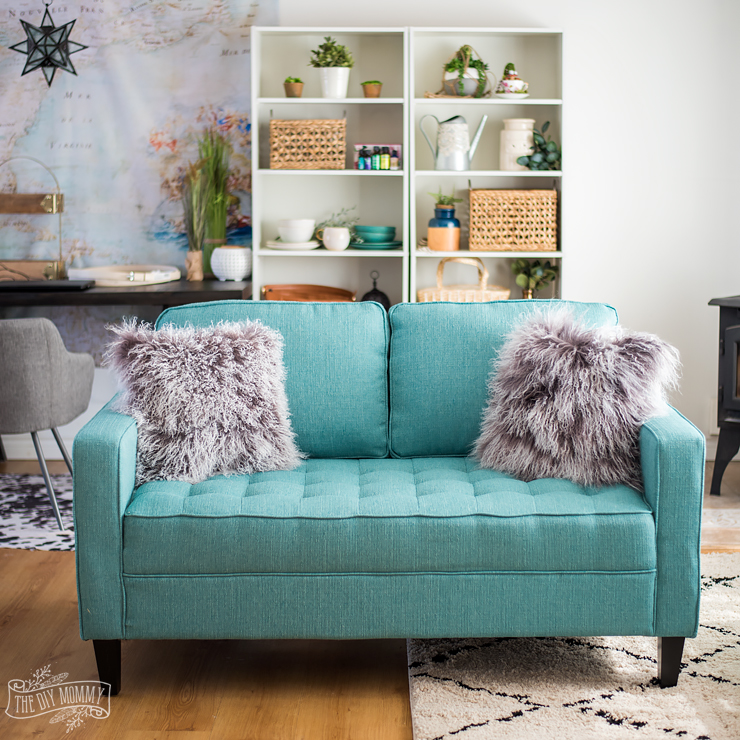 How to Style a Colorful Couch - Paris Loveseat in Ocean from The Brick