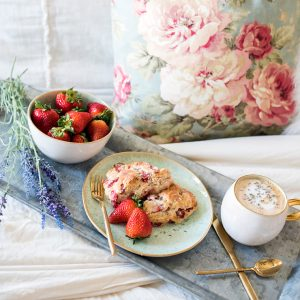 Strawberry & Lavender Scones for Mother's Day Breakfast in Bed