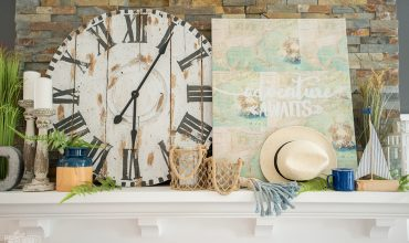 Summer mantel decor idea - blues, greens & coastal accents