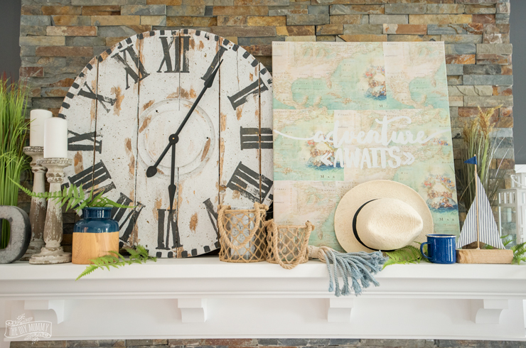 Summer mantel decor idea - blues, greens & coastal accents
