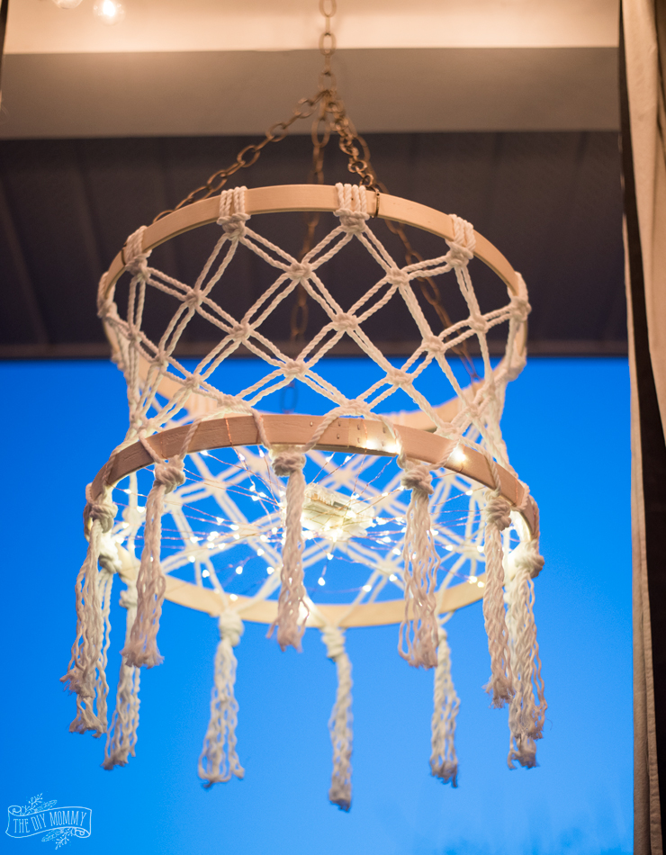 DIY Macrame Boho Chandelier with Fairy Lights