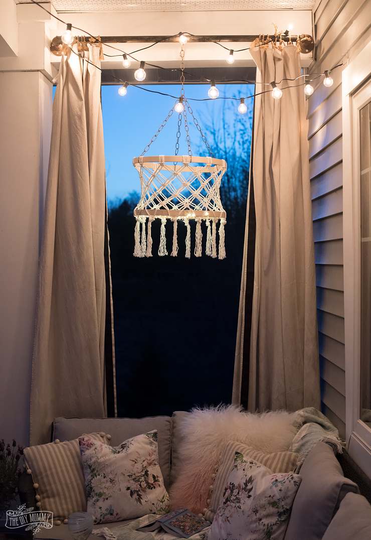 Make A Diy Macrame Boho Chandelier With Fairy Lights The