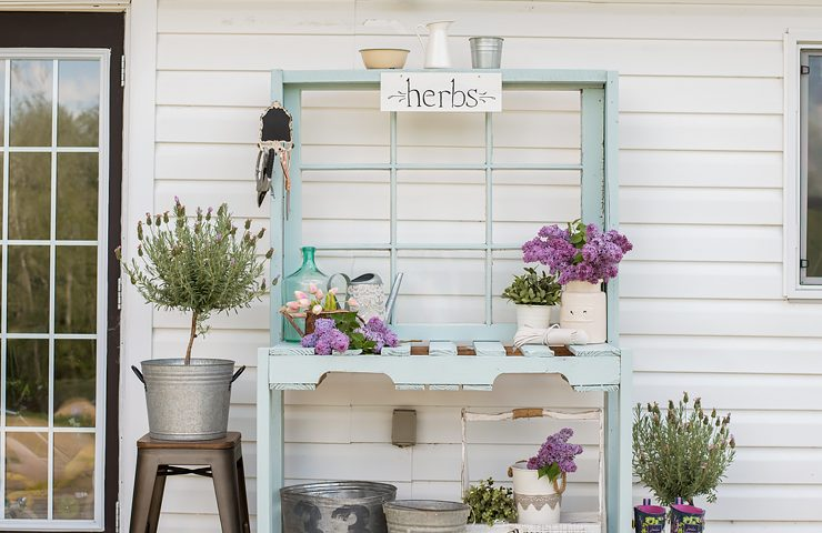 Make a Potting Bench from Pallets & an Antique Window