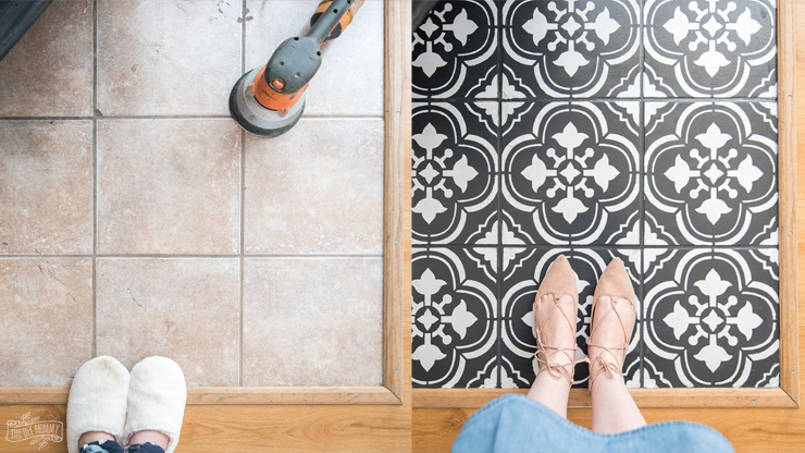 How To Paint Tile Floors With A Stencil The Diy Mommy