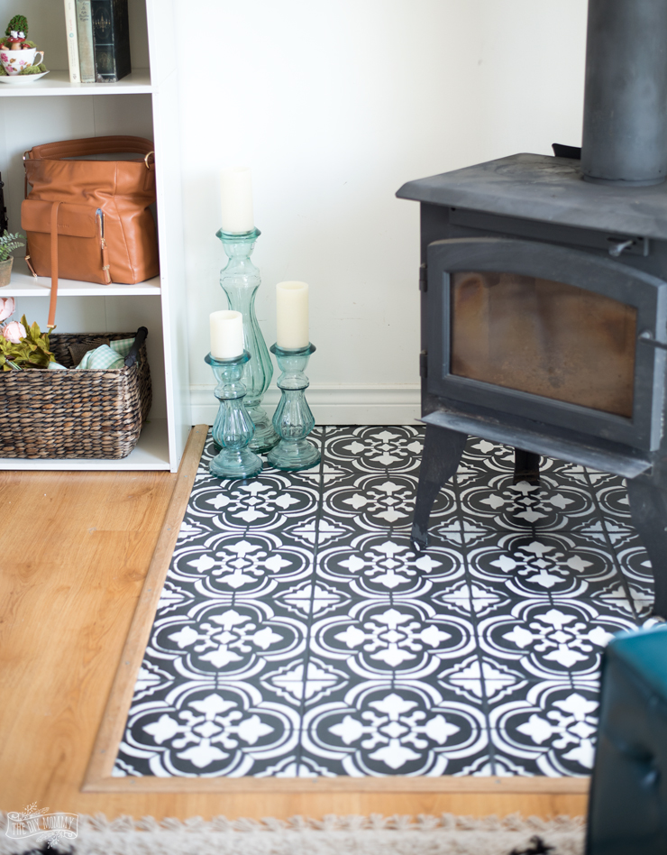 How to paint floor tile with a stencil. Amazing DIY faux cement tile look!