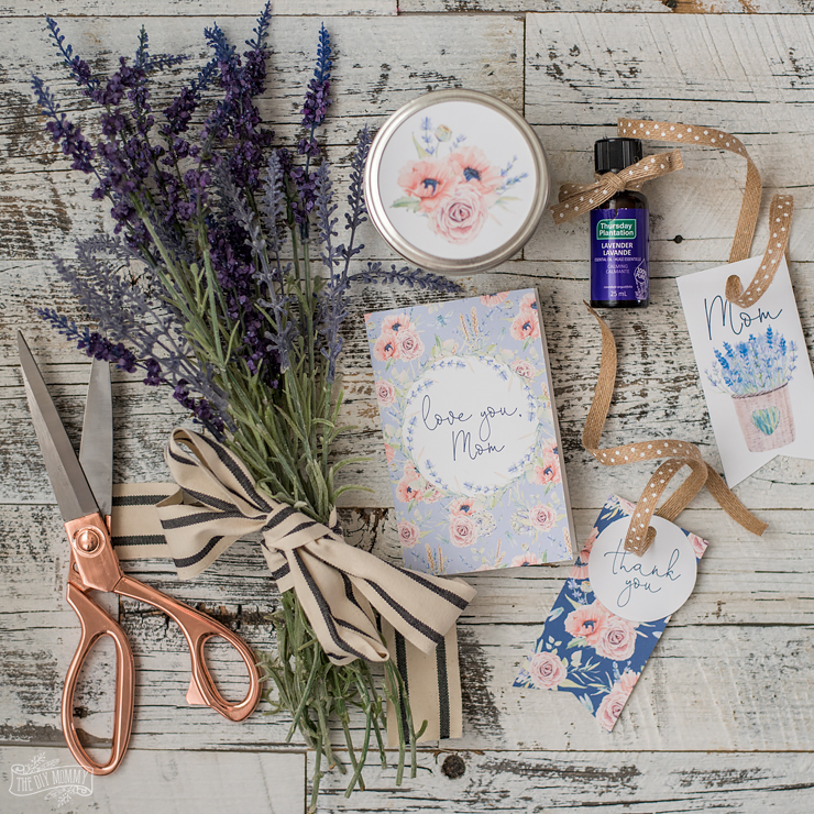 French Country inspired lavender & floral Mother's Day printable card and gift tags