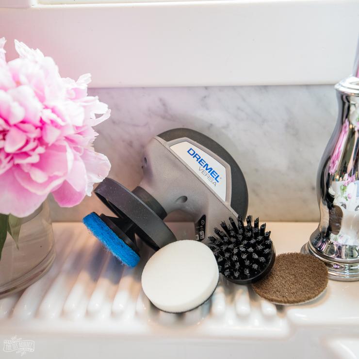 How to clean a white porcelain farmhouse sink with Dremel Versa