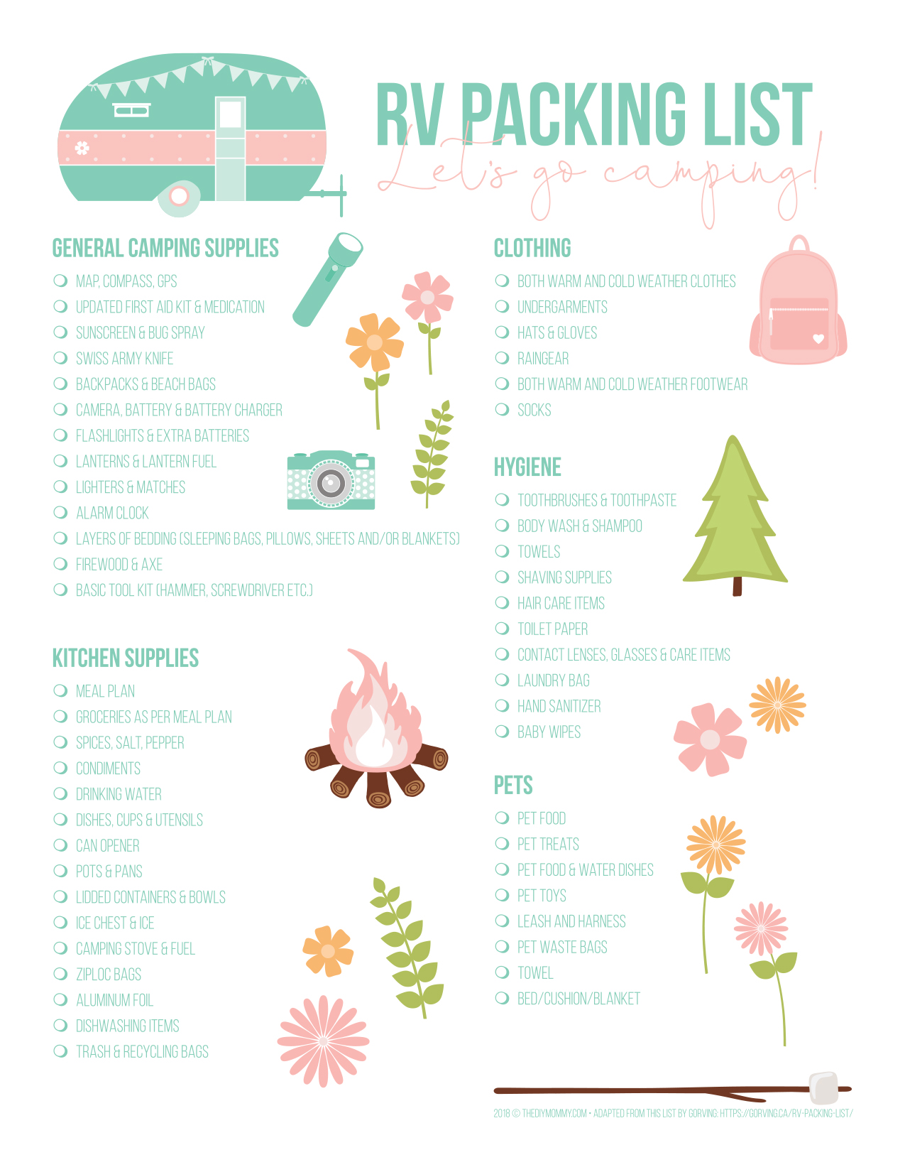 image about Rv Checklist Printable named RV Packing Listing No cost Printable (and its thus lovely!) The