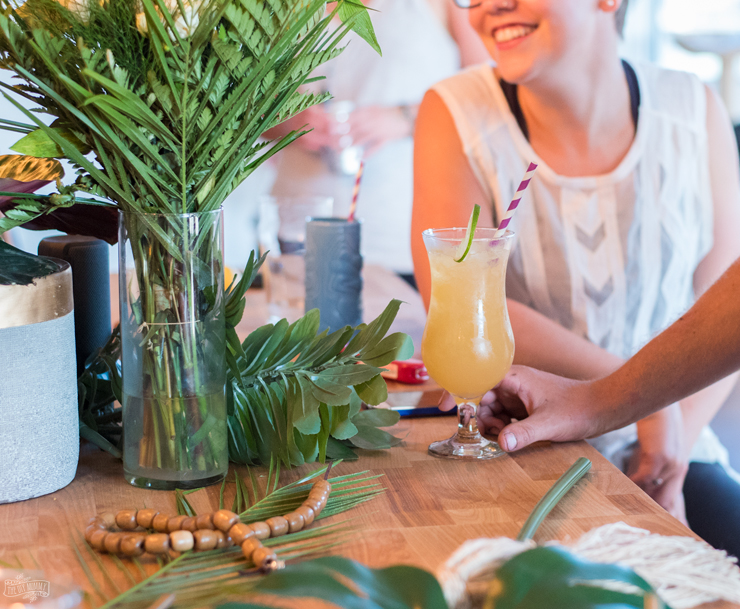 """Easy summer cocktail party ideas - """"chic tiki"""" food & decor"""