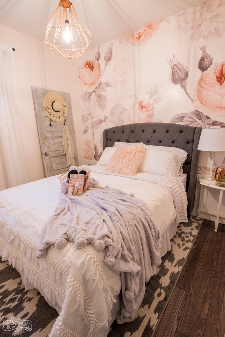 Feminine Modern Farmhouse Guest Bedroom Makeover With Large Fl Wall Mural Upholstered Headboard And