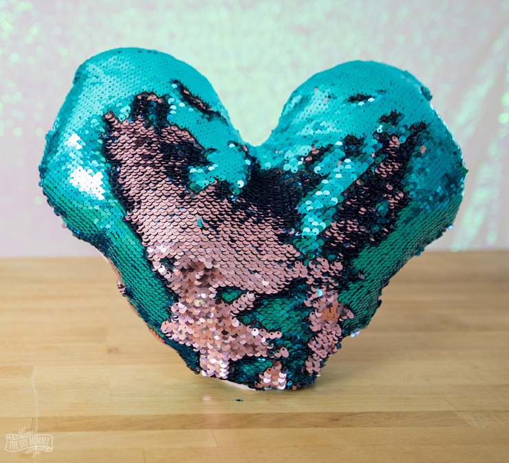 How to sew a mermaid sequin pillow - free heart shaped pattern