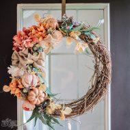 Make a Fall Floral Grapevine Wreath in Rose Gold & Copper