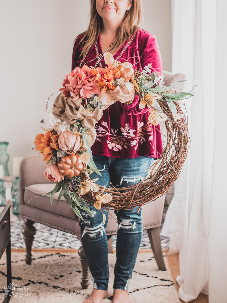 Fall Floral Grapevine Wreath in Rose Gold and Copper