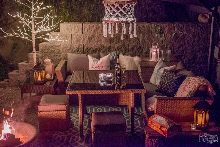 Beautiful night time patio tour with Duraflame