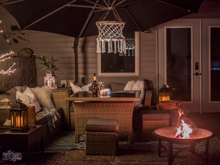 Beautiful night time patio tour with Duraflame