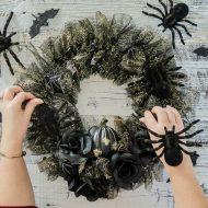 Spooky Glam Halloween Dollar Store Wreath