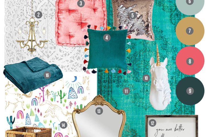 Mood Board: A Rich & Magical Girls' Bedroom Design