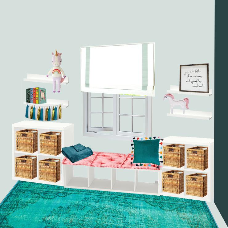 Semi Built-In Window Seat and Shelves Mockup with Ikea Kallax