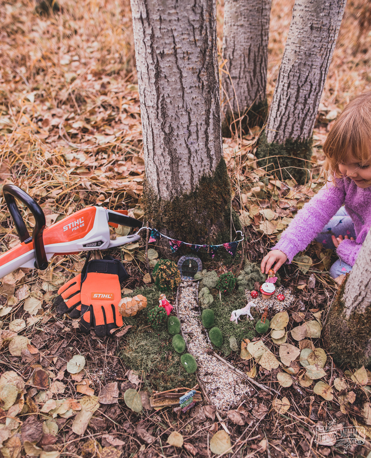 A Fall fairy garden in the woods