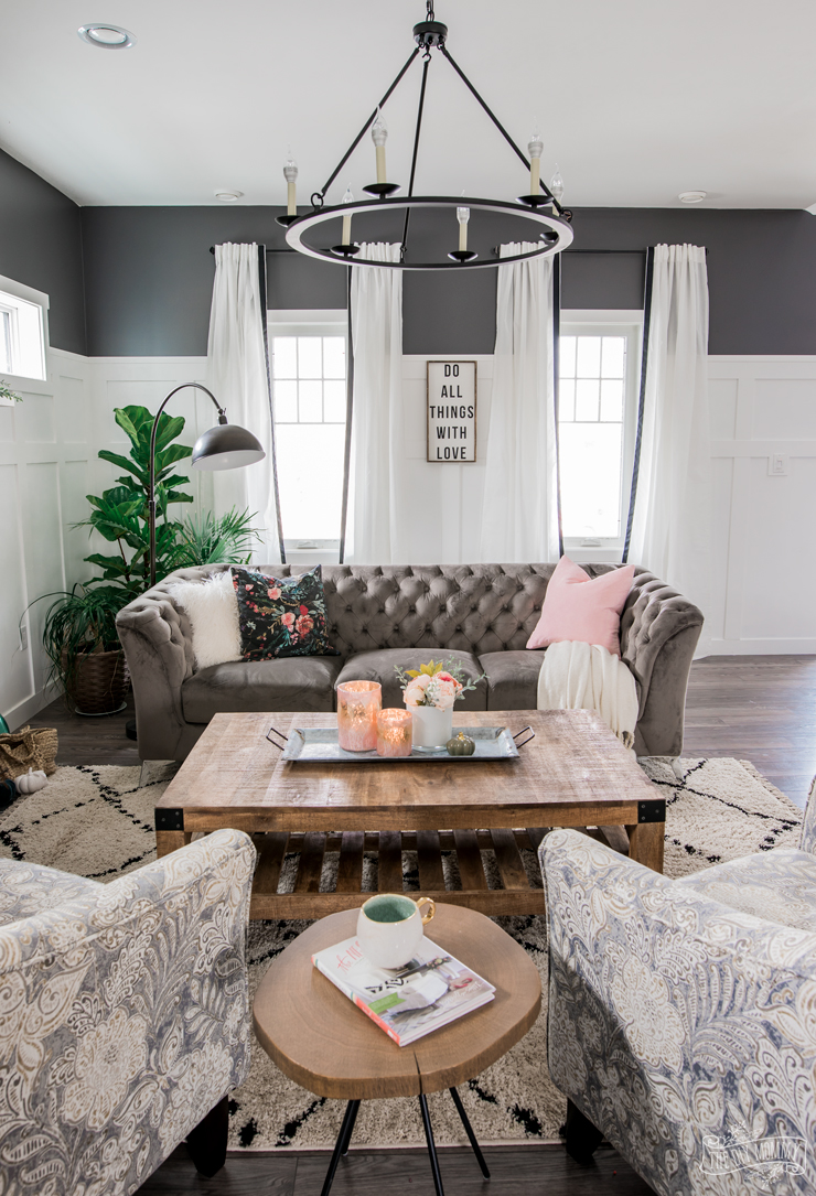 A Cozy, Rustic Glam Living Room Makeover for Fall | The ... on Curtains For Farmhouse Living Room  id=88625