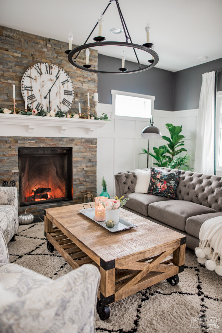 Gray And White Transitional Rustic Living Room With: A Cozy, Rustic Glam Living Room Makeover For Fall