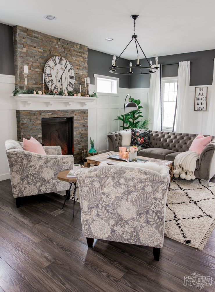 A Cozy, Rustic Glam Living Room Makeover for Fall | The ... on Traditional Rustic Decor  id=58575