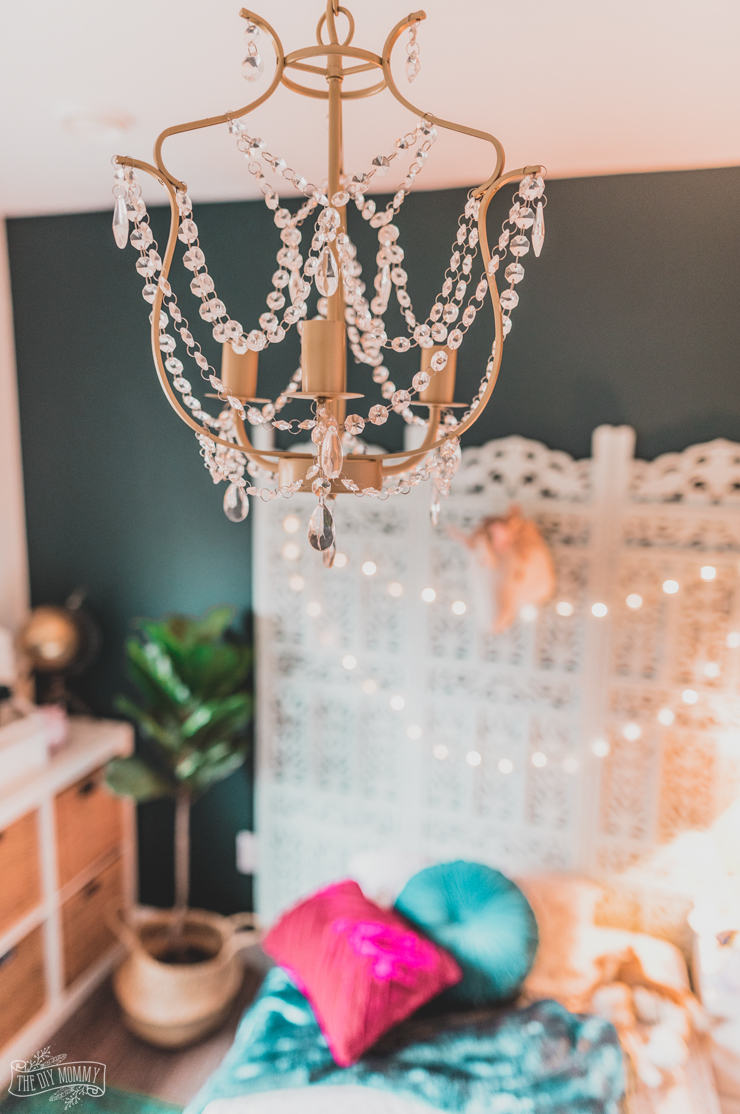 Gold Spray Painted Ikea Chandelier