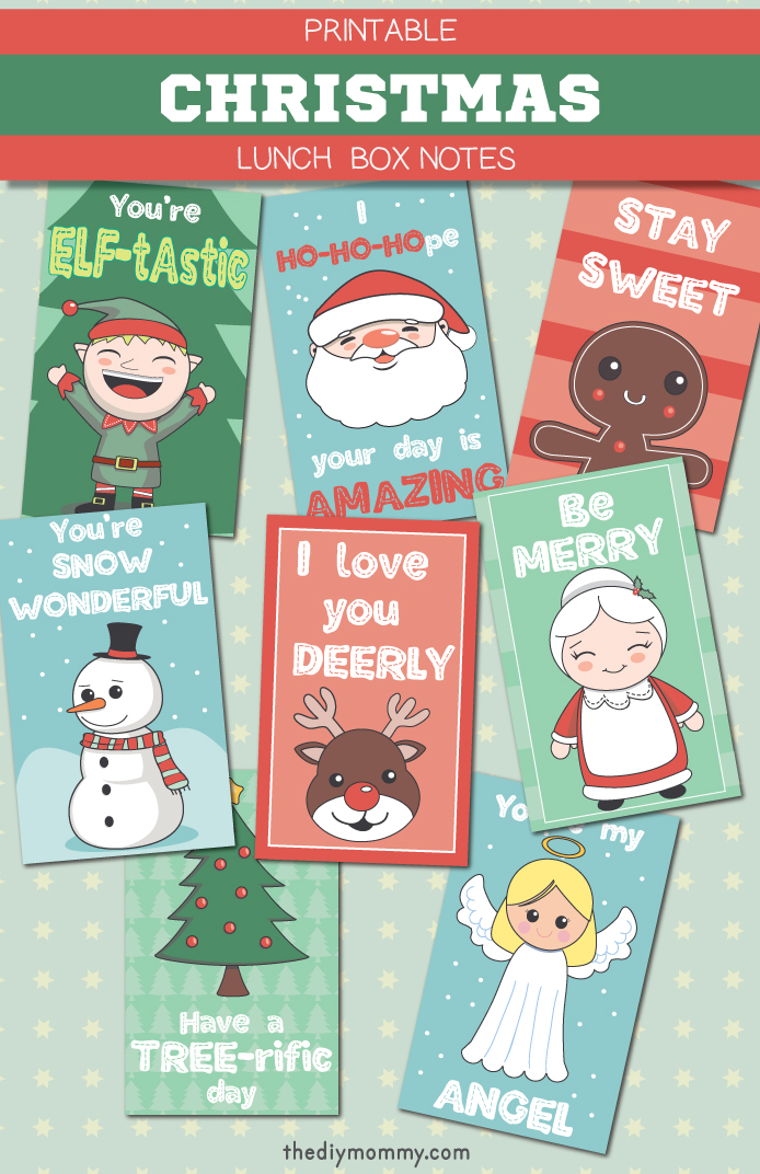 Adorable Christmas Lunch Box Free Printable Notes