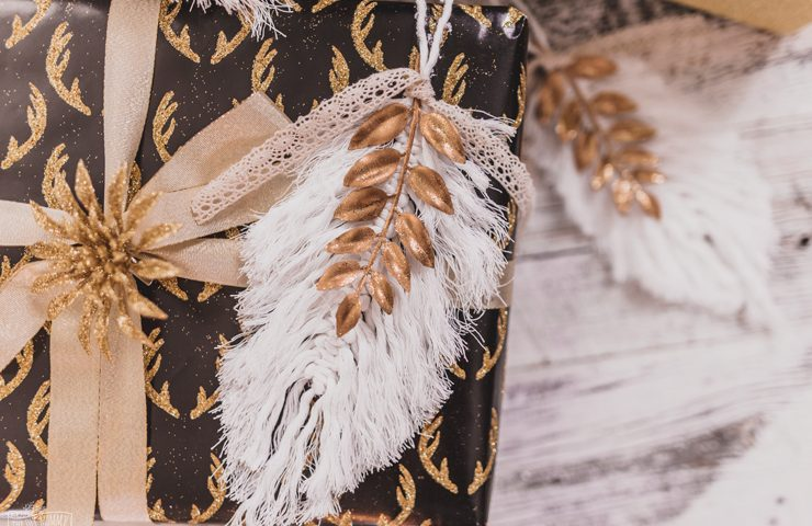 DIY Macrame Feather Christmas Ornaments