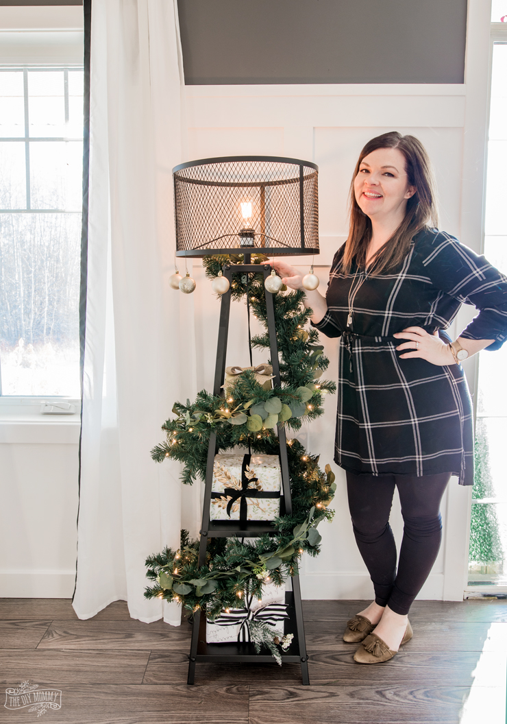 DIY Floor Lamp Christmas Tree