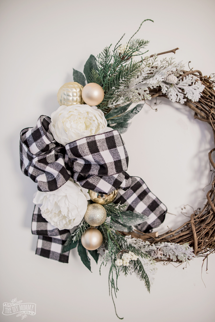 Neutral buffalo check grapevine Christmas wreath idea