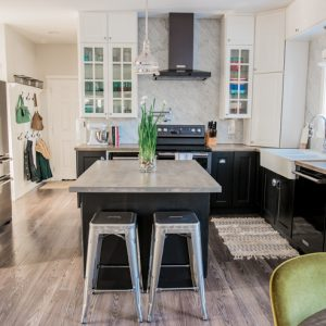 Black Stainless Steel and White Eclectic Vintage Industrial Kitchen Makeover